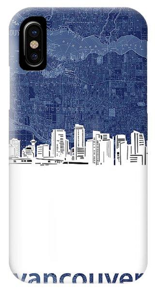 Vancouver City iPhone Case - Vancouver Skyline Map Blue by Bekim M