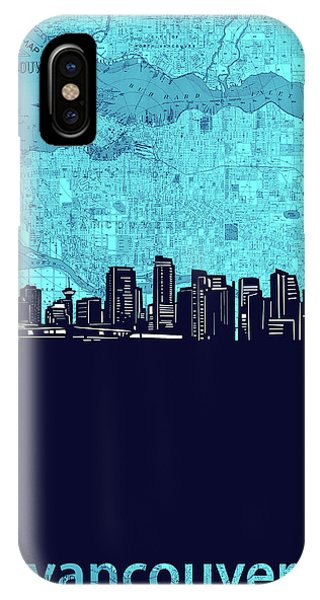 Vancouver Skyline iPhone Case - Vancouver Skyline Map Turquoise by Bekim M