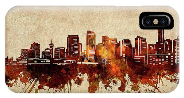Vancouver City iPhone Case - Vancouver Skyline Sepia by Bekim M
