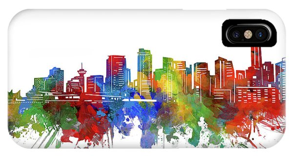 Vancouver City iPhone Case - Vancouver Skyline Watercolor 2 by Bekim M