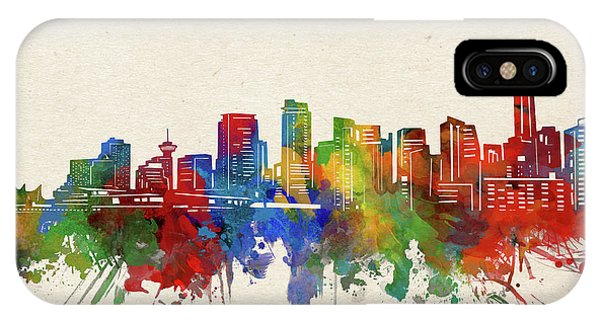 Vancouver Skyline iPhone Case - Vancouver Skyline Watercolor by Bekim M