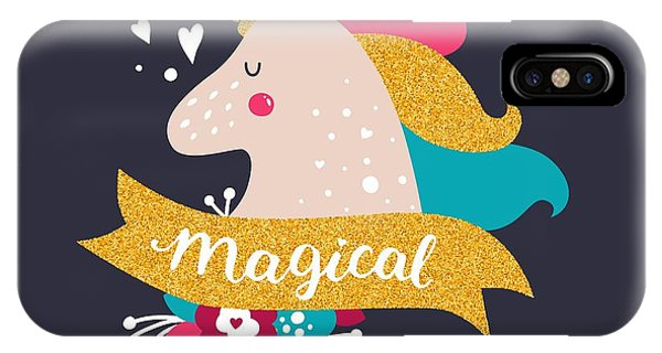 Unicorn iPhone Case - Vector Baby Unicorn With Glitter. Kids by Tatishdesign