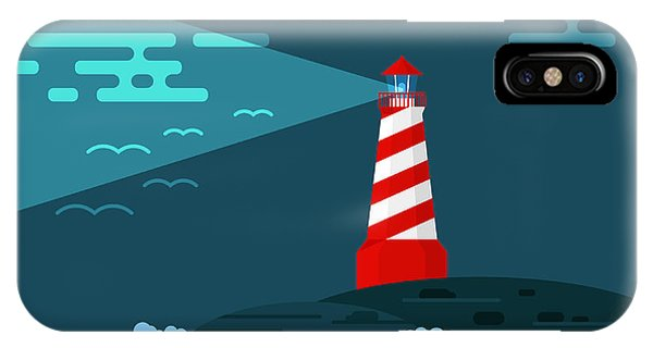 Beams iPhone Case - Vector Background With Lighthouse, Sea by Curiosity