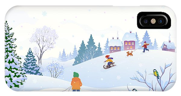 Shrub iPhone Case - Vector Cartoon Illustration Of A Winter by Merggy