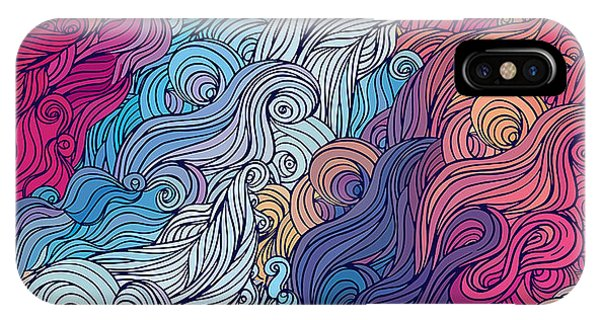 Seamless iPhone Case - Vector Color Abstract Hand-drawn Hair by Gorbash Varvara