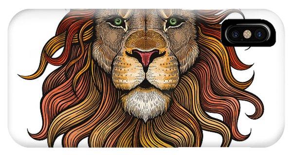 Danger iPhone Case - Vector Color Lion Illustration by Julia Waller