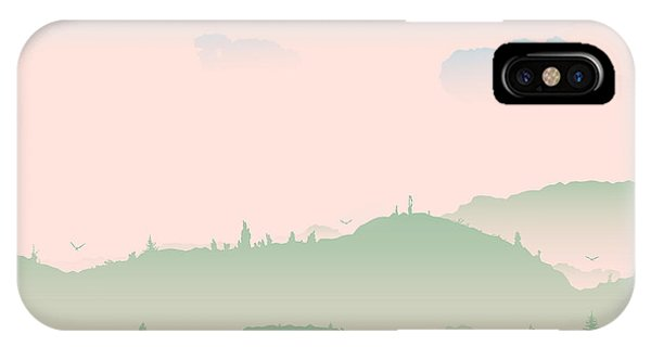 Fairy Tales iPhone Case - Vector Evening Coniferous Forest Hills by Dariatri3