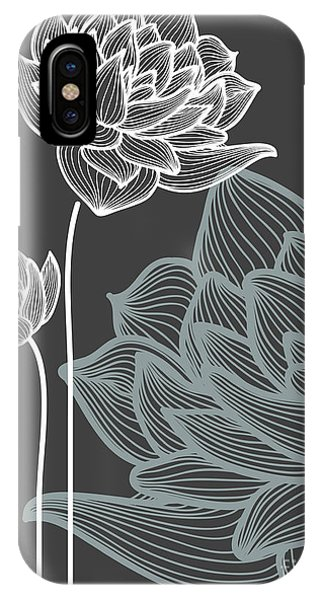 Peony iPhone Case - Vector Flowers Over Black Background by Danussa