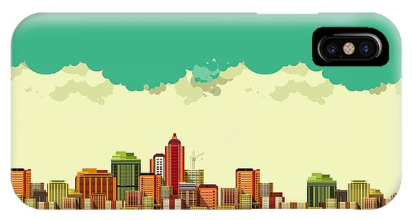 Office Buildings iPhone Case - Vector Illustration Big City Panoramic by Marrishuanna
