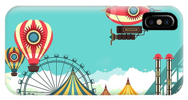 Carousel iPhone Case - Vector Illustration Carnival Circus by Marrishuanna