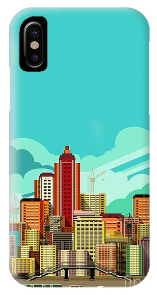 Office Buildings iPhone Case - Vector Illustration Fluorescent Image by Marrishuanna