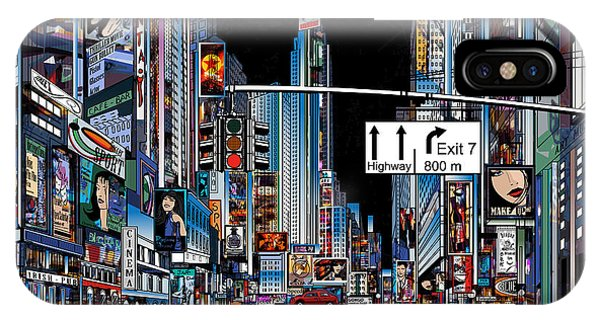Famous People iPhone Case - Vector Illustration Of A Street In New by Isaxar