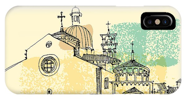 Cross iPhone X Case - Vector Illustration Of Padua Cathedral by Babayuka