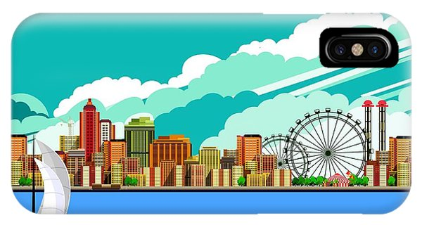 Office Buildings iPhone Case - Vector Illustration Promenade Ride A by Marrishuanna