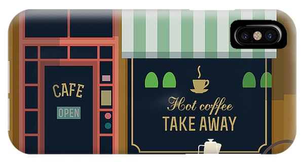 Small Business iPhone Case - Vector Local Cafe Detailed Facade by Mascha Tace