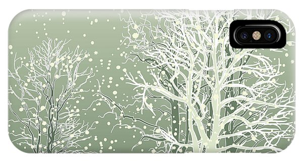 Freeze iPhone Case - Vector Of Winter Scene With Forest by Bstr-1