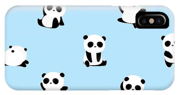 Baby Blue iPhone Case - Vector Pattern Panda Bear Pattern On by Junxu Lu