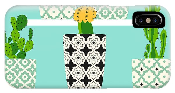 Shelves iPhone Case - Vector Pattern With Cacti. Cute Cactus by Lilalove
