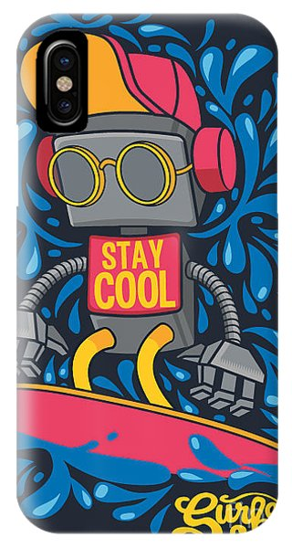 Surfboard iPhone Case - Vector Retro Robot On Surfboard, Surfer by Braingraph