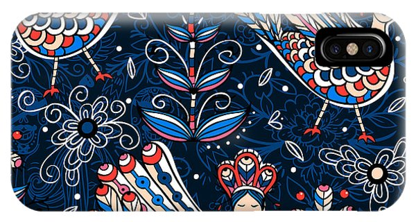 Seamless iPhone Case - Vector  Seamless Pattern With Folk by Anna Paff