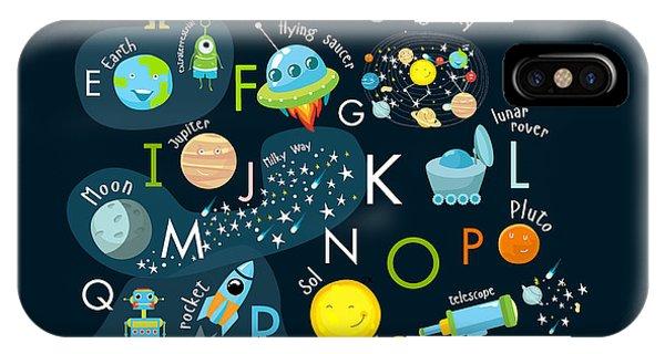 Futuristic iPhone Case - Vector Space Alphabet by Olga Utchenko