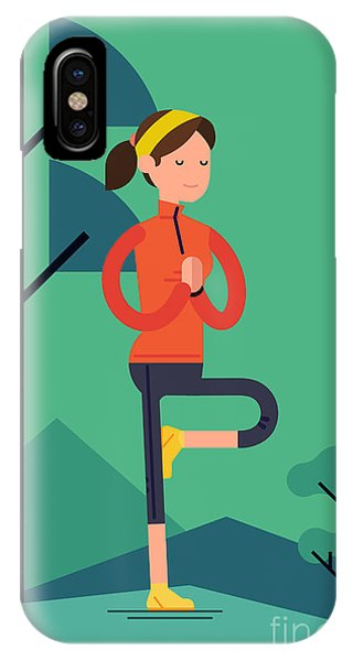 Peace iPhone Case - Vector Sport Young Woman Character by Mascha Tace
