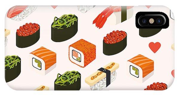 Kitchen iPhone Case - Vector Sushi Menu Template With by Svetlana Maslova