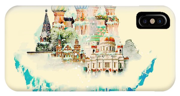 Freeze iPhone Case - Vector Watercolor Moscow City by Trentemoller