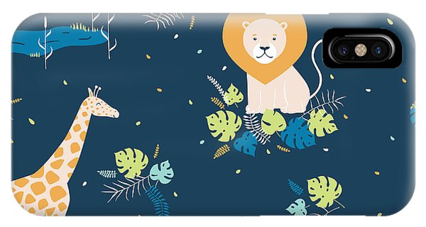 Baby Blue iPhone Case - Vector Wildlife Seamless Pattern With by Inna Moreva