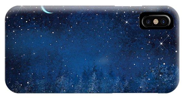 Space iPhone Case - Vector Winter Wonderland Night by Rvika