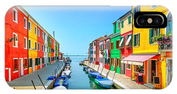 Old Building iPhone Case - Venice Landmark, Burano Island Canal by Stevanzz