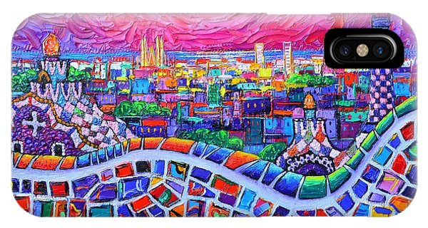 Vibrant Barcelona Night View From Park Guell Modern Impressionism Knife Painting Ana Maria Edulescu IPhone Case
