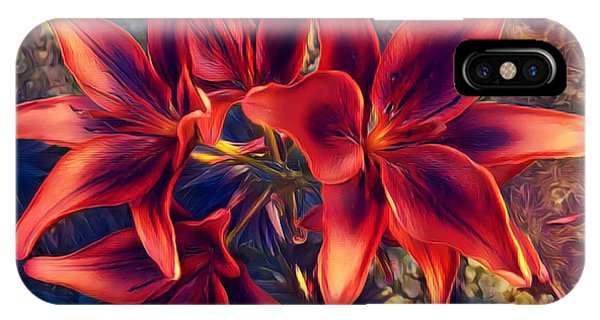 Vibrant Red Lilies IPhone Case