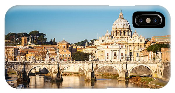Dome iPhone Case - View At Tiber And St. Peters Cathedral by S.borisov