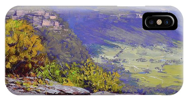 Rocky Mountain iPhone Case - View From Hassons Wall Lithgow by Graham Gercken