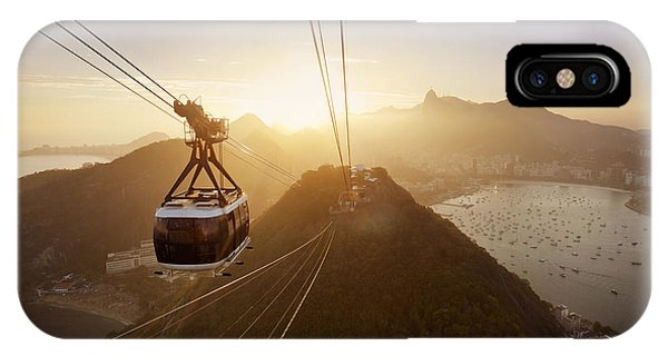 South America iPhone Case - View Of A Cable Car At Sunset, Showing by Claire Mcadams