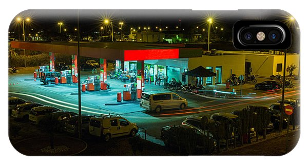 Neon iPhone Case - View Of A Urban Gas Station Working In by Mauro Rodrigues
