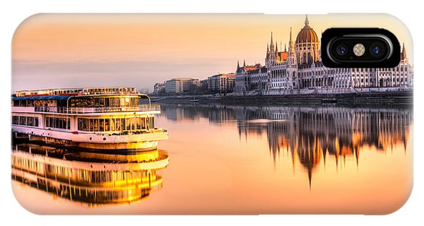 Old Building iPhone Case - View Of Budapest Parliament At Sunrise by Luciano Mortula - Lgm