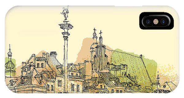 Sketch Pen iPhone Case - View Of Castle Square In Old Center Of by Babayuka