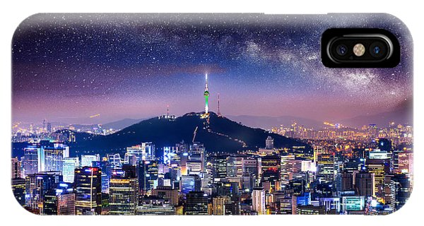 Travel Destination iPhone Case - View Of Downtown Cityscape And Seoul by Guitar Photographer