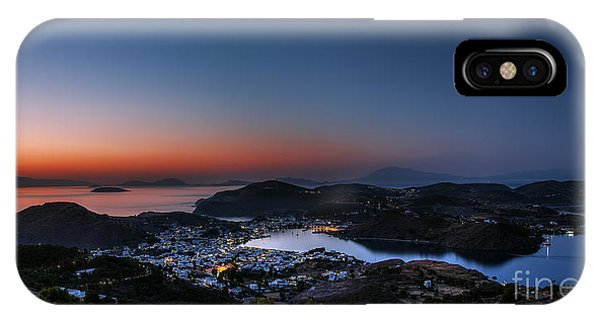 Historic House iPhone Case - View Of Patmos Island After Sunset by Lemonakis Antonis