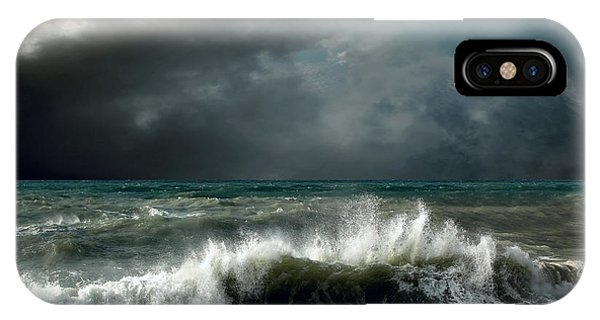 Grey Background iPhone Case - View Of Storm Seascape by Andrey Yurlov
