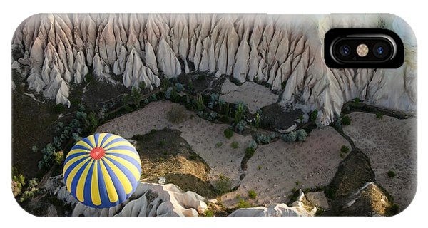 Cappadocia iPhone Case - View Of The Air Balloon Flying Over by Nickolay Vinokurov
