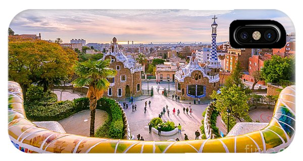 View Of The City From Park Guell In Phone Case by Georgios Tsichlis