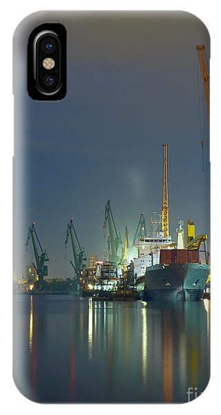Dusk iPhone Case - View Of The Quay Shipyard Of Gdansk by Nightman1965