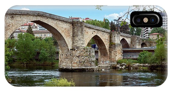 View Of The Roman Bridge And The Minho River IPhone Case