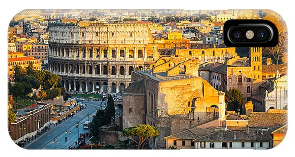 Dusk iPhone Case - View On Colosseum In Rome, Italy by S.borisov