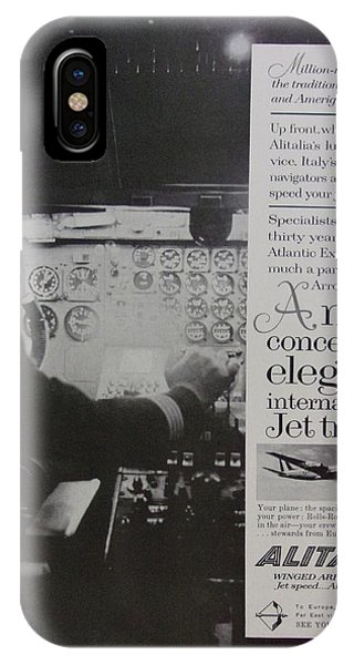 Alitalia iPhone Case - Vintage Alitalia Airline Advertisement by Mary Beth Welch
