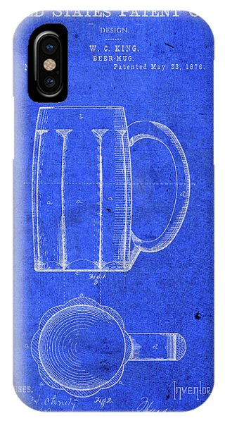 Bar iPhone Case - Vintage Beer Mug Patent Blueprint by Design Turnpike