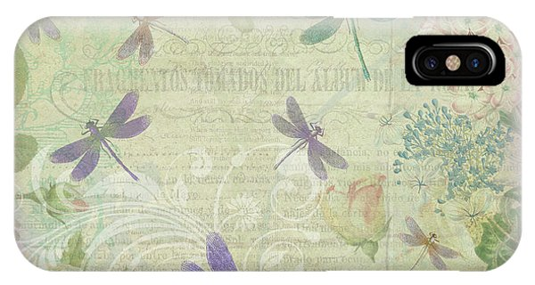 Vintage Botanical Illustrations And Dragonflies IPhone Case